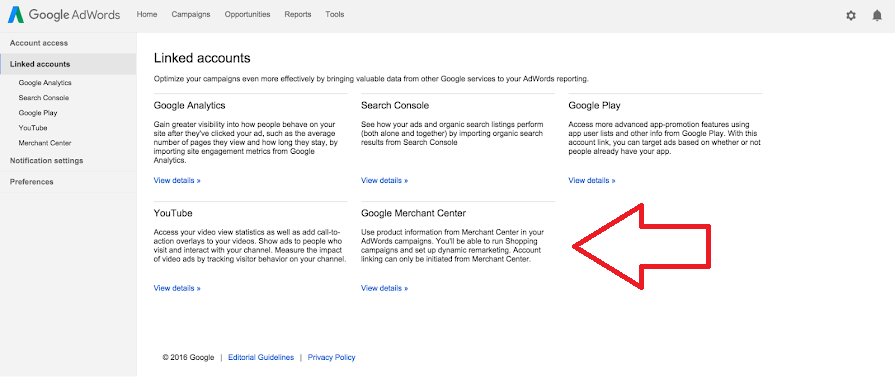 Google Merchant Center links to Google Ads