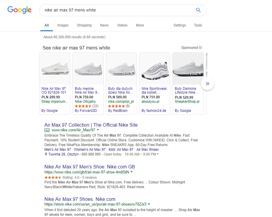 Google Shopping Results view