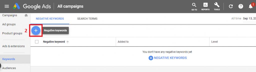 Negative keywords 2