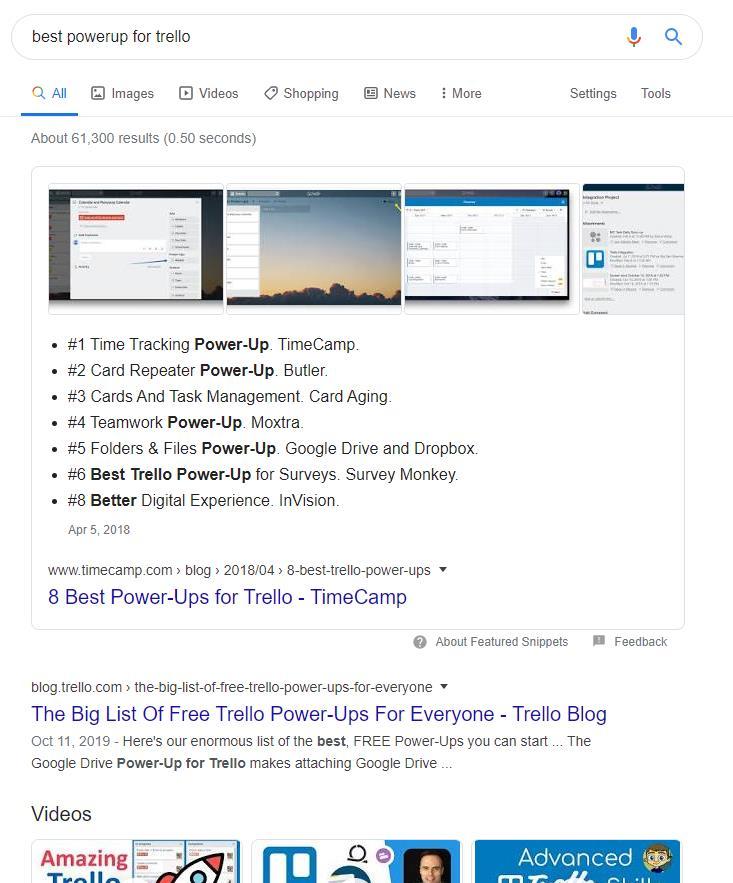 Wyniki wyszukiwania w Google