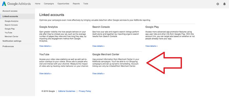 Google Merchant Center links to Google Ads